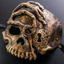 Scary Gold Half Face Skull Costume Halloween Masquerade Ball Party Adult Mask