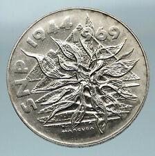 1969 Czech Republic Czechoslovakia Uprising Lion & Plant 25 Korun Coin i84663