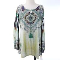 World Unity Woman Knit Top Size 1X Blue Green Boho Peasant New with Tags