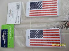 SET OF 2 USA Flag + plastic LUGGAGE ID TAGS new