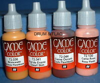 VALLEJO GAME COLOR PAINT - SKIN / FLESH / FACES COMBO B - 4 x 17ml bottles. DF04