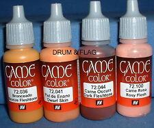VALLEJO GAME COLOR PAINT - SKIN / FLESH / FACES COMBO B - 4 x 17ml bottles. DF04