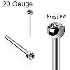 """6pcs. 20G~1/2"""" - 2mm Clear CZ Ball 316L Steel Fishtail Autoclavable Nose Stud"""