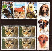 PR129 SAN TOME e PRINCIPE chiens,chats,chevaux, 2 blocs 3t imbres oblitérés