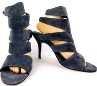 White House Black Market Womens Gladiator Heels Size 10 Gray Suede Strappy