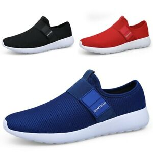 Mens Slip On Sports Shoes Walking Gym Fitness Breathable Casual Trainer Sneakers