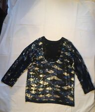 LADIES BLACK AND ROYAL BLUE SEQUINS TOP WITH LONG SLEEVES