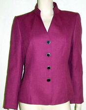 Tahari Petite NWT Sz 8P Eggplant Lined Stand Up Collar Jacket Blazer $280 7191