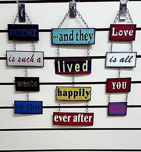 Metal Shabby Chic Retro Wall Sign Plaque Vintage Fun Joined With Metal Chain