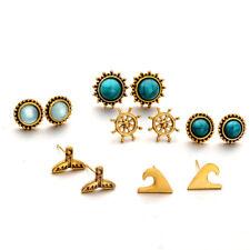 6 Pairs Women Boho turquoise Crystal Earrings Ear Stud Earring Anchor Jewelry