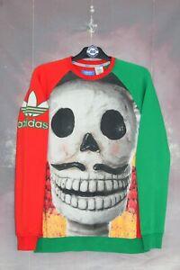 ADIDAS ORIGINALS RETRO VINTAGE DAY OF THE DEAD MEXICO SWEATSHIRT,SIZE:MEDIUM