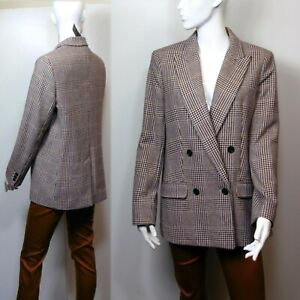 M&S Italian WOOL Blend DOUBLE BREASTED Checked BLAZER ~ Size 14 ~ BROWN Mix