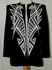 BOB MACKIE COUTURE BLACK SILK EVENING JACKET RARE VINTAGE 1980'S SIZE 8
