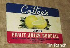 COTTEES LEMON TIN SIGN fruit juice cordial NEW VINTAGE retro Australia nostalgic