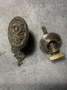Antique Barrows  cast bronze / brass oval door knob & Matching Rosette