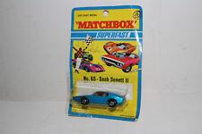 MATCHBOX SUPERFAST #65 SAAB SONETT III, BLUE, AMBER WINDOWS, YELLOW INT., NIB #2