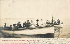 A Boating Scene On Beaver Lake, Beaver Dam, Wisconsin Wi Rppc 1907