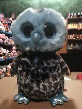 """Ty YAGO -Sky Blue/Black Camouflaged Print Owl 10"""" Beanie Boo Buddy! *NEW*"""