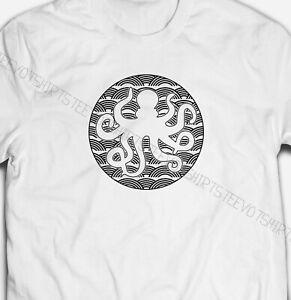 WAVE CIRCLE OCTOPUS OCEAN CREATURE ANIMAL NATURE 100% cotton Mens T-shirt Tee