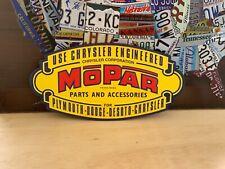 LARGE MOPAR PARTS & ACCESSORIES EMBOSSED METAL JEEP DODGE CAR TRUCK DEALER SIGNN