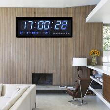 Blau LED Wanduhr Digital Uhr mit Datum Temperatur Haus Büro Schule 48*18*5cm BL