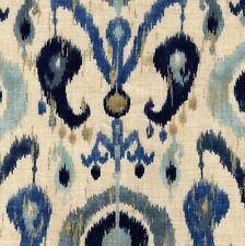 HOLIDAY Lake Richloom Flax Viscose Ikat Floral Print Fabric Blue Gold Navy Tan