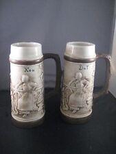 Pair of Beer Mug Stein Cup in Brown with Ken & Dot Hand Painted Two Men & Women