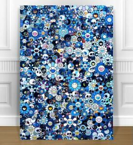 """TAKASHI MURAKAMI- SKULL FLOWERS CANVAS PRINT 24x36"""" JAPANESE POP ART BLUE"""