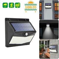 100 LED Solaire Mur Lampe PIR Mouvement Capteur Extérieur Jardin Chemin Lumières