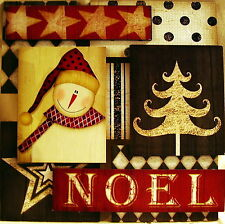 """NWT """"Noel"""" 3-D Wood Christmas Wall Decor-14"""" Sq Snowman, Stars, Tree, Diamonds"""