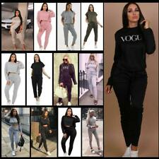 New Ladies Vogue Print Loungewear Top Bottom Joggers 2 Pcs Co-Ord Set Tracksuit