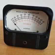 "Weston Modulation Percentage Decibels Meter 4"" Large Working Model 861 for Gates"
