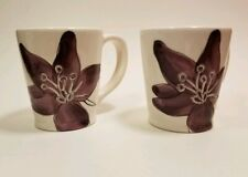 Preowned Laurie Gates Floral Print Handpainted Mug (Set of 2)