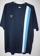 Nike Mens Navy Soccer Short Sleeve Vertical Stripe Athletic T-Shirt Size XL