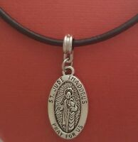 St Jude Necklace Leather Medal Pendant Patron Saint Protect Us Medal Thaddeus