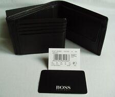"Hugo Boss' 50128297' 'Arezzo Piel de Becerro Cuero Negro Tri Fold ""Nota Moneda Cartera"