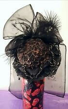 HANDMADE MINI BLACK GOTH VICTORIAN STEAMPUNK STYLE HAT CHAINS CAMEO FEATHERS BOW