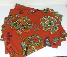 World Market Placemats Double Sided 100% Cotton Lot of 4 Tatiana Pattern Floral