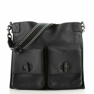 Gucci Double Pocket Bamboo Messenger Bag Leather Large