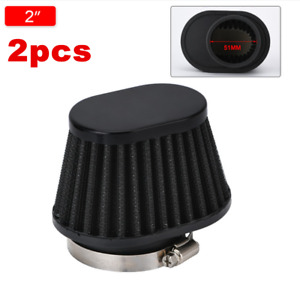 2PCS High Performance Motorcycle Parts Cone Pod Air Filter Cleaner 51mm ID
