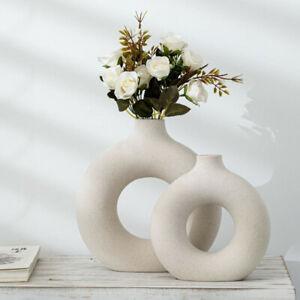 Donut Round Vase Nordic Minimalist Flat Ceramic Art Tabletop Flower Home Decor