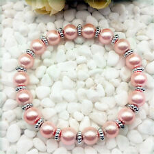 Wholesale fashion jewelry  pink 8 mm glass pearl stretch beaded bracelet  DIY