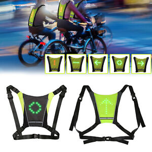 Cycling Vest LED Turn Signal Light Pilot Lamp Safety Direction Guide Backpack