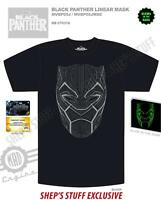 Black Panther Glow in The Dark Linear Mask Hero Tee Adult Men's Graphic T-Shirt