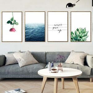 Landscape Flower Sea Motivational Canvas Nordic Poster Minimalist Art Prints
