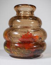 Ernest Baptiste Leveille Art Nouveau Glass Vase w/Crackle Design