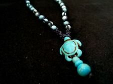 Sea Turtle Necklace,stone,Surfer,beach nautical jewelry,Turquoise color