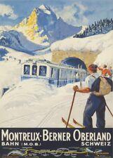 Vintage Ski Posters MONTREAUX-BERNER OBERLAND, Reproduction Winter Sport Poster
