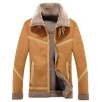 Men's Fleece Lining Coat Suede Leather Thick Warm Outwear Jacket Slim Fit FK15