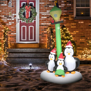 Outdoor Christmas Decoration - Inflatable Penguin Singers - 2.1m with LED Lights